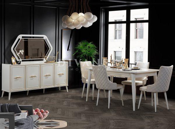 safir beyaz yemek odası
